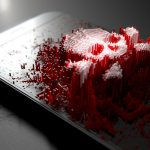 Generic smart phone screen emanating small pixels